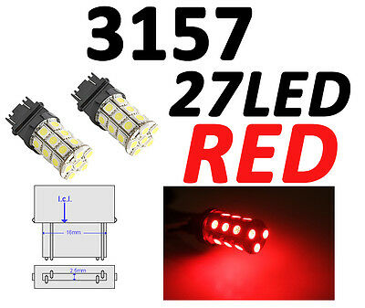 FORD - XENON RED 3157/3156 27-LED CORNER SIGNAL BRAKE BACK UP LIGHT BULBS