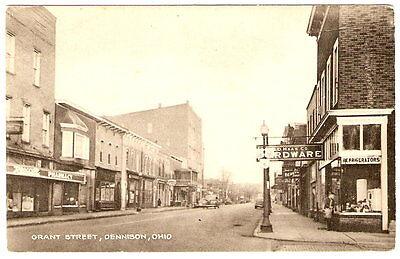 1930's OHIO Dennison GRANT STREET Main Town View REXALL DRUGS PHOTO POSTCARD