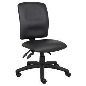 black armless multi function leather ergonomic task office 87718