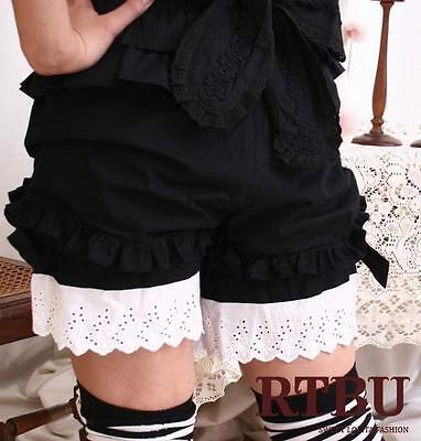 RTBU Gothic Lolita 100% COTTON Bloomer Shorts BW L/XL