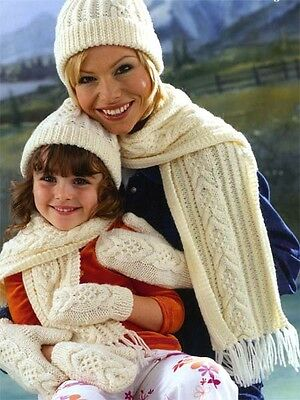 KNITTING PATTERN-Aran Hat Scarf and Mitts- Mother and daughter