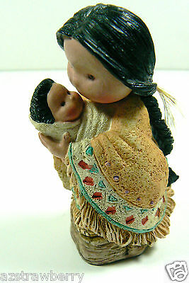 Friends of Feather by Enesco 1994 Little Ppride N' Joy Indian Mom Baby Figurine
