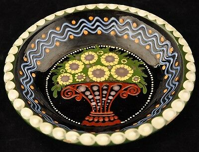Johann Lipp Mering Majolica German Sgraffito Decorated Bowl Flower Basket Decor
