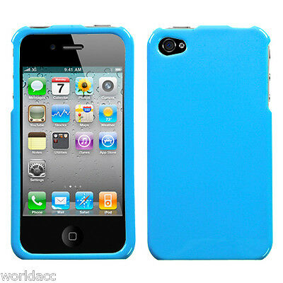 Apple iPhone 4 4S Hard Solid Case Snap On Blue Phone Cover Turquoise Glossy My