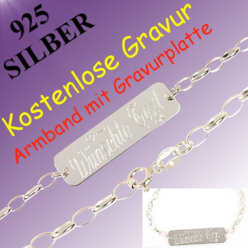 925 Silber Armband mit Kostenlose Gravur Freundschaft Geschenk Partnerschaft