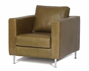 Image Is Loading Modern Contemporary Genuine Full Grain Leather Chair