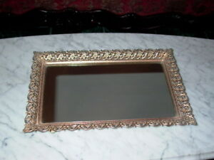 Vintage Vanity Mirror Tray With Floral Border