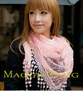Vintage-Floral-Triangular-Lace-Tassel-Scarf-Shawl-Wrap-8-Color