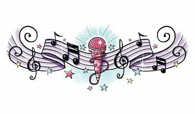 ROCK STAR MUSICAL NOTES LOWER BACK Temporary Tattoo CLEARANCE