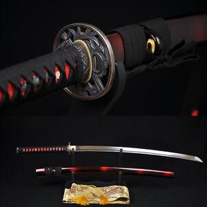 Japanese-Samurai-Sword-KATANA-1060High-Carbon-Steel-Full-Tang-Blade-Can-Cut-Tree