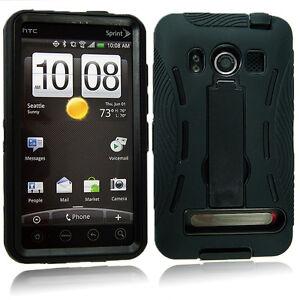 FOR-HTC-EVO-4G-SPRINT-BLACK-HYBRID-HEAVY-DUTY-KICKSTAND-HARD-SOFT-CASE-COVER