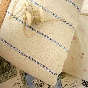 French-Shabby-Vintage-Chic-Woven-Ticking-Stripe-Hemp-Linen-Grain-Sack-Fabric-Blu
