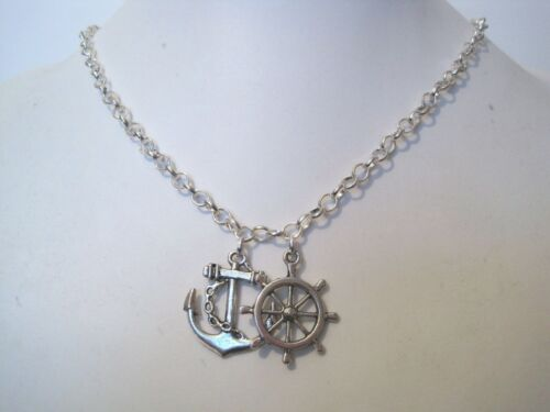 HELM CHARM* Choice Silver Plated Necklace Sailing Gift Bag *NAUTICAL ANCHOR