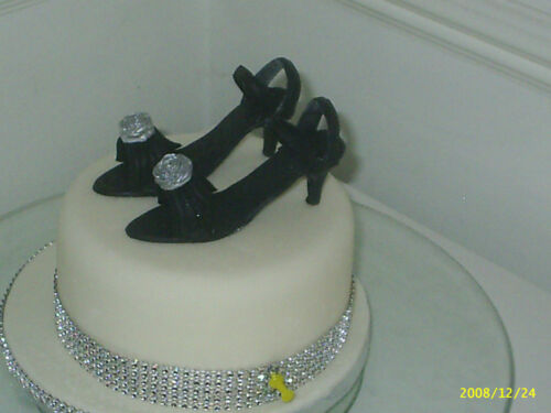 BIRTHDAY CAKE HIGH HEEL  SUGAR SHOES IN BLACK OR IVORY TOPPER  18th  21st
