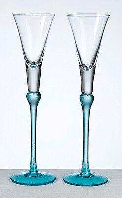 "Aqua Blue Wedding Toasting Wine Glass Champagne Flutes 10.5""  - Pair"