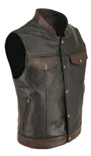 Mens Sexy Real Black Brown Cow Leather Waistcoat Bikers Vest Waistcoat (BR4)