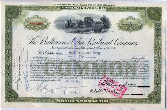 Baltimore & Ohio Railroad Company Stock Certificate B&O CSX