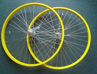 "Beach Cruiser bike 26""x1.75 Rear & Front Wheels Rims Yellow W coaster Brake"