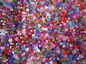 350-Acrylic-Faceted-Bicone-Beads-6mm-COLOURS-Random-MIX-BUY-ONE-GET-ONE-FREE