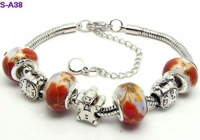 1pc beautiful charm bracelet fit porcelain beads S-A38