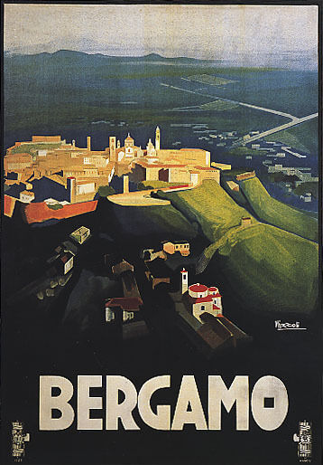 ITALY BERGAMO LOMBARDY VIEW OF OLD TOWN ITALIAN TRAVEL VINTAGE POSTER REPRO
