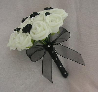 WEDDING ARTIFICIAL FLOWERS WHITE / BLACK BRIDESMAID WEDDING BOUQUET FOAM ROSE
