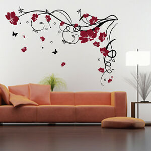 Image Is Loading Large Flower Butterfly Vine Wall Stickers Wall Decal Part 39