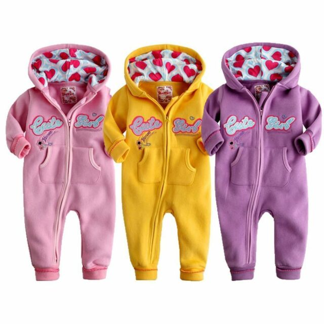"NEW Newborn & Baby Girl's Fleece Jumpsuit Onepiece Bodysuit  ""Cute Girl Hoodie"""