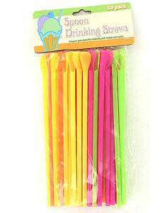 Snow Cone Smoothie Milkshake Cocktail Spoon Drinking Straws Straw, Package of 50