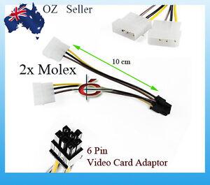 2x-4-Pin-Molex-to-1x-6-Pin-PCI-E-PCIE-Power-Cable-Video-Card-ATI-nVidia-Adaptor