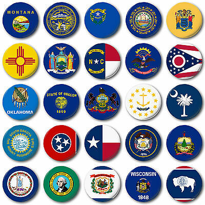 """USA STATE FLAGS (M to W) 25mm, 1"""" Button Badge, American, Texas, New York"""