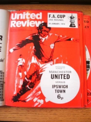 26011974 Manchester United v Ipswich Town FA Cup . Item In very good conditi