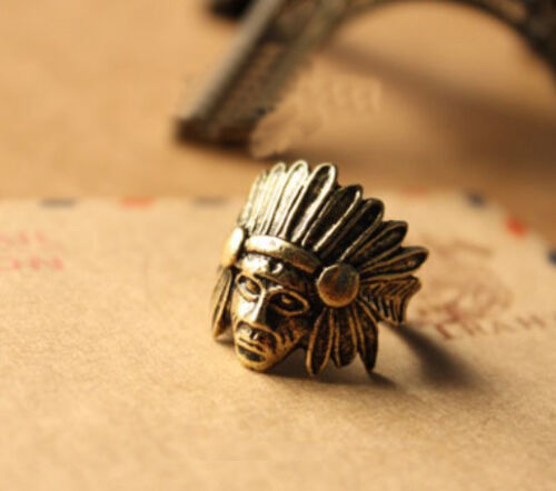 New Fashion Bronze Vintage Retro Style Punk Head Ring Rings size 6 T