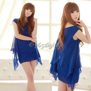Womens-Sexy-One-Shoulder-Solid-Chiffon-Asymmetric-Gown-Loose-Mini-Dress-Tops