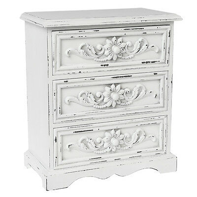dotcomgiftshop 3 DRAWER ANTIQUE WHITE WOOD CABINET. WODDEN SHABBY & CHIC DRAWER