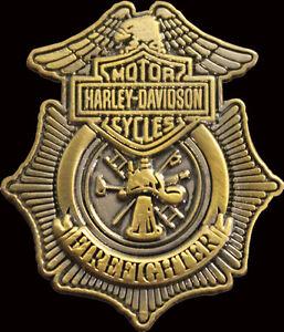 HARLEY DAVIDSON 3D DIE CAST ANTIQUE GOLD FIREFIGHTER PIN