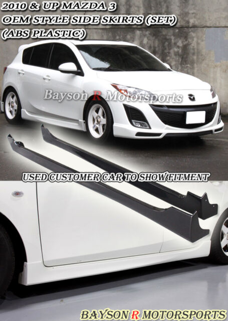 OE-Style Side Skirts (ABS) Fits 10-13 Mazda 3 4/5dr