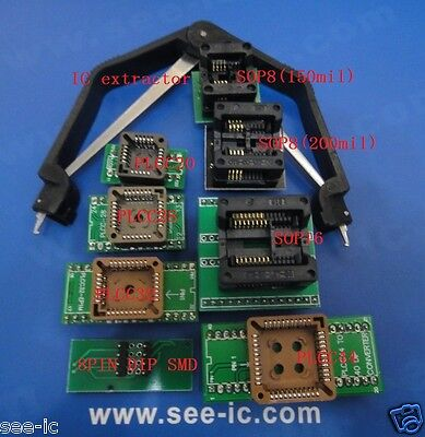 8pcs SOP & PLCC Sockets Kit for TL866CS TL866A RT809F with IC extractor
