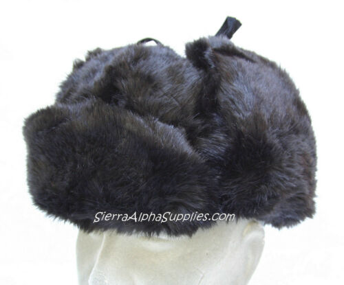 NUOVO Nero russo in pelliccia sintetica Cosacco Stile Cappello Invernale Orecchie FLAP DOWN-Taglia S XL M L