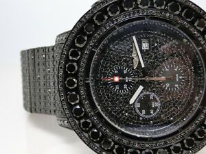 iced out 52 ct mens new breitling super avenger black diamond image is loading iced out 52 ct mens new breitling super