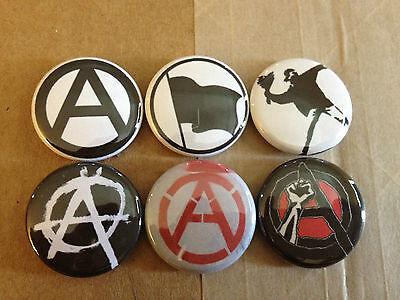 "ANARCHY set of 6 1"" pins buttons Anarchist Crass BLACK FLAG punk MISFITS"