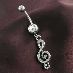 Treble Clef Belly Button Ring