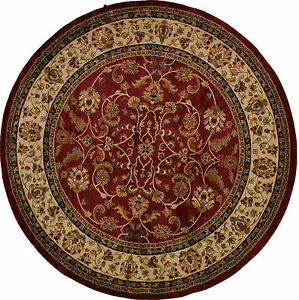 8-Foot-Round-Area-Rug-Rugs-New-Large-Huge-Traditional-Border-Red-Claret-Pattern