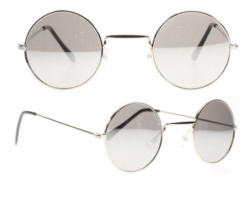 Mens Vintage Round Ozzy John Lennon Cool Hippie Metal Silver Mirror Sunglasses