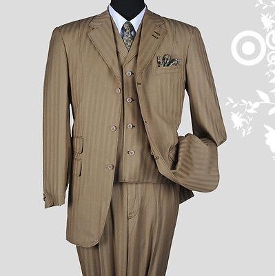 New Men's 3 piece Milano Moda Elegant and Classic Stripes Suit Tan 5267