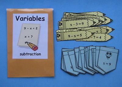 Teacher Made Math Center Resource Variables Subtraction