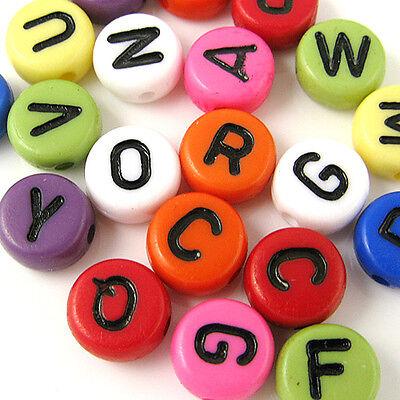English tiny alphabet plastic bead Assorted 7MM 300PCS (11-19-193)