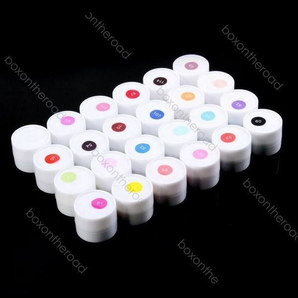 Lot 24 Pots Cover Pure Colors Nail Art UV Builder Gel Nail Tips DIY Decorations