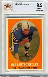 1958-Topps-14-Jim-Mutscheller-BVG-8-5-NM-MT-Baltimore-Colts-Highest-BVG-Grade