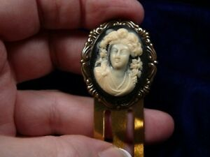 CBS59-2-Victorian-LADY-CAMEO-BOOKMARK-book-mark-BRASS-books-marker-library